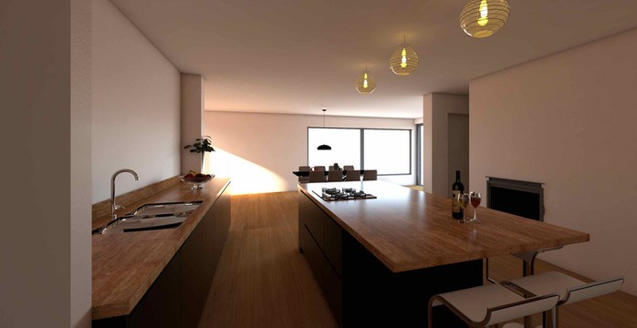 Kitchen visualisation with timber worktop and floor