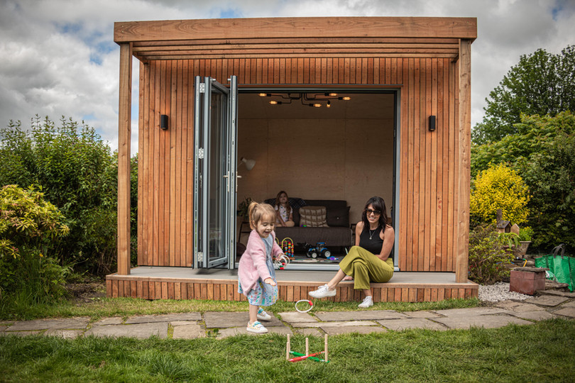 Children playing outside pod