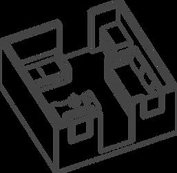 Axonometric of pod living dining area
