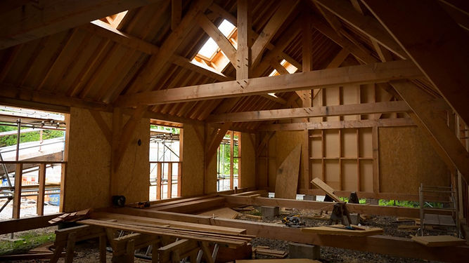 Traditional exposed details in timber framed barn