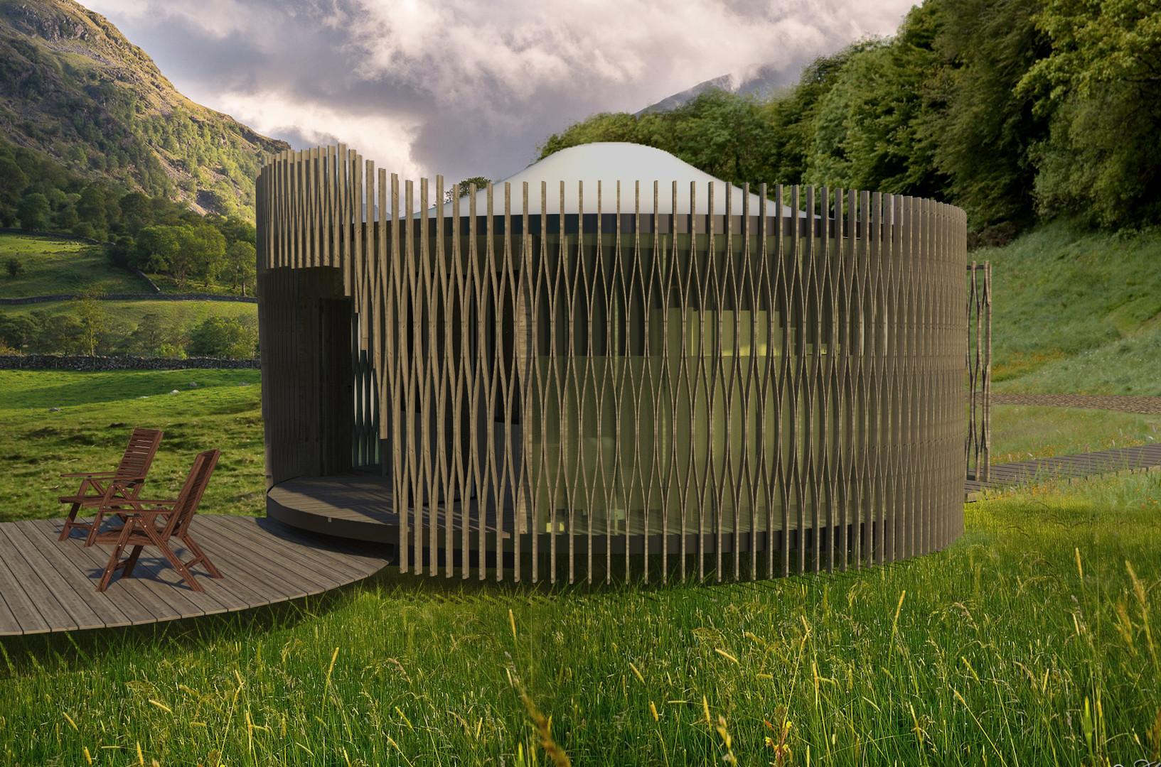 Helygen pod in Welsh landscape