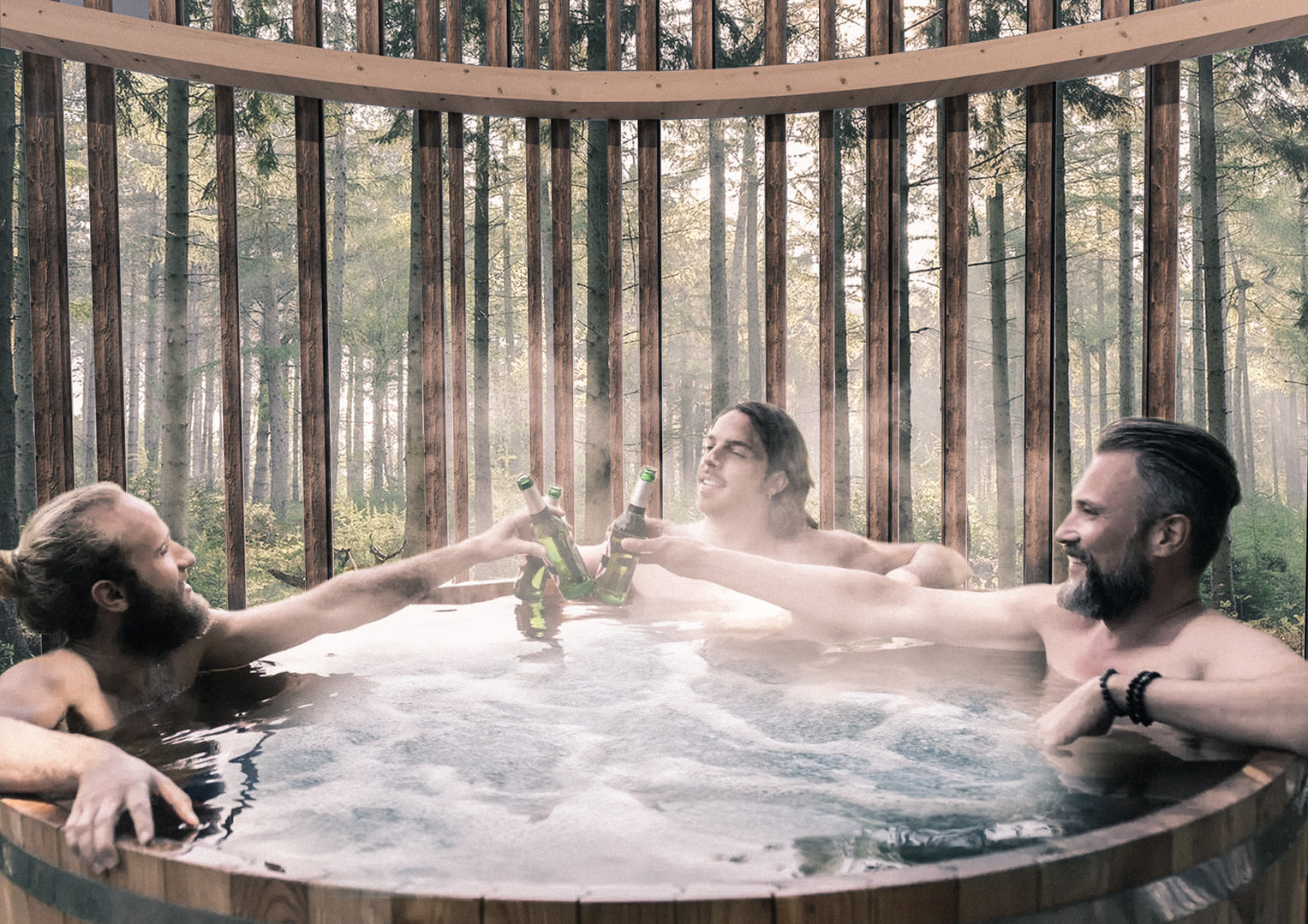 Hot tub in the trees