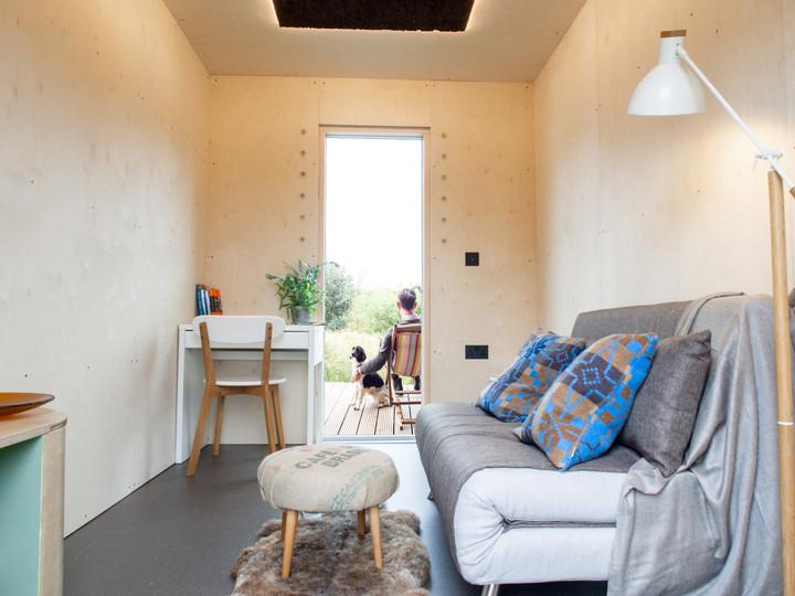 Garden room pod with birch ply interior