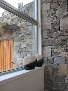 Mark Waghorn Designs, Three Glens, Scotland, off-grid eco farmhouse, Locally sourced materials, site-sourced oak cladding, stone and sheep's wool insulation