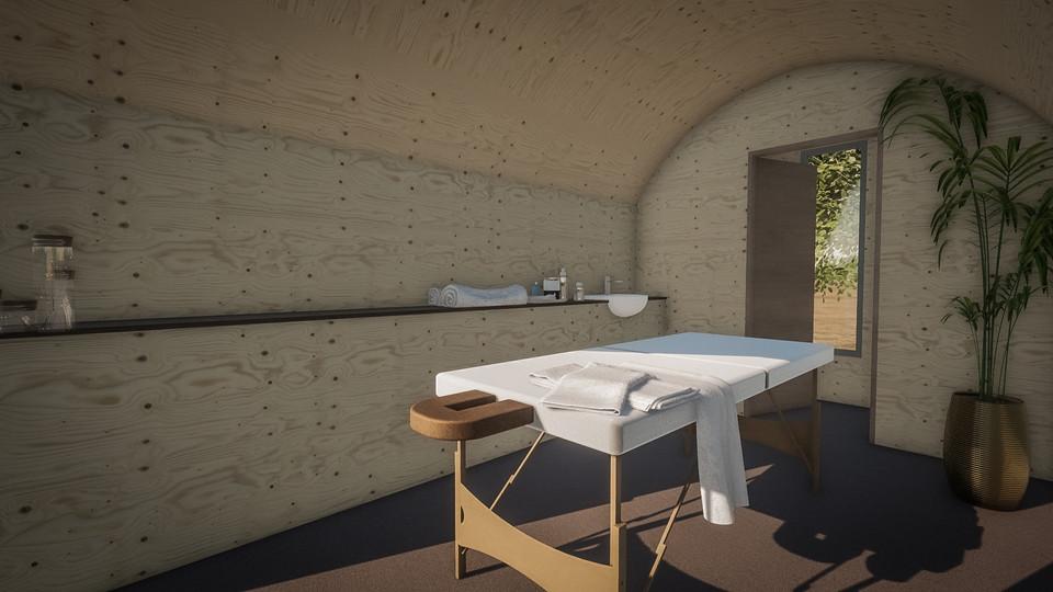 Pod used as massage room