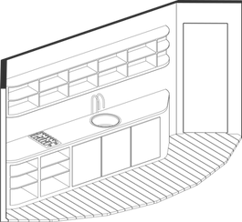 Axonometric of pod kitchen