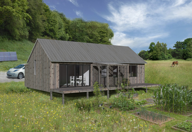 Timber clad one planet park home in Wales
