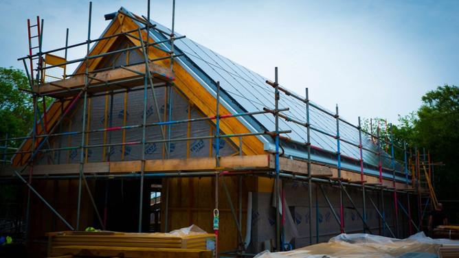 Solar panels fitted on timber framed barn