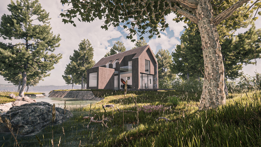 Visualisation of timber clad low impact home next to river