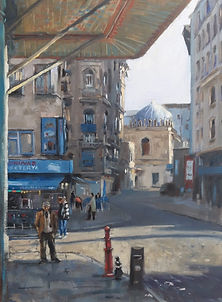 Morning Light Down Town Istanbul oil on