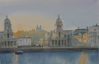Royal Greenwich Early Morning, watercolo