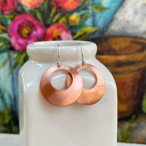 Copper Offset Washer Earrings | Sterling Silver and Copper Earrings
