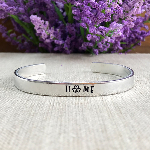 Shamrock Home Aluminum Cuff Bracelet | Metal Stamped