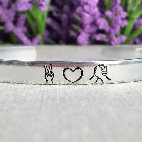 Peace Love Solidarity   Unity Harmony Togetherness   Handstamped Aluminum Cuff