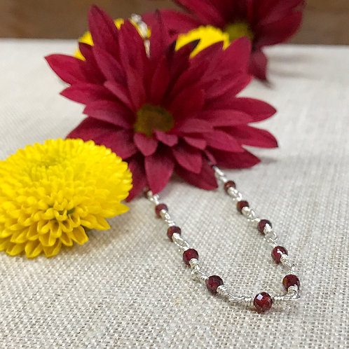 Garnet Sterling Silver Wire Wrapped Choker Necklace   Fall Winter Collection