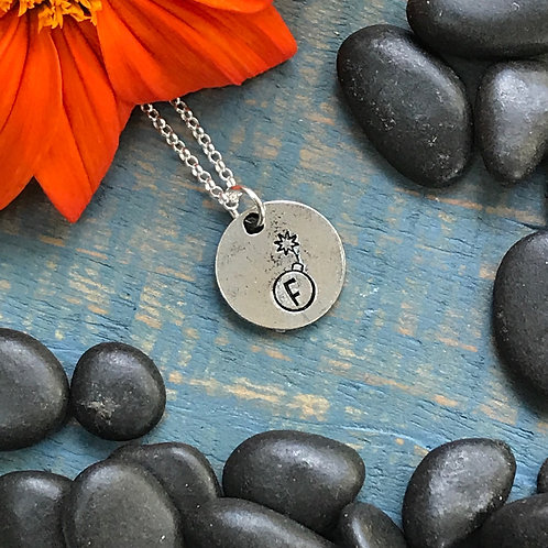 F Bomb Necklace   Hand Stamped Metal Pewter Pendant   Funny Quirky Necklace
