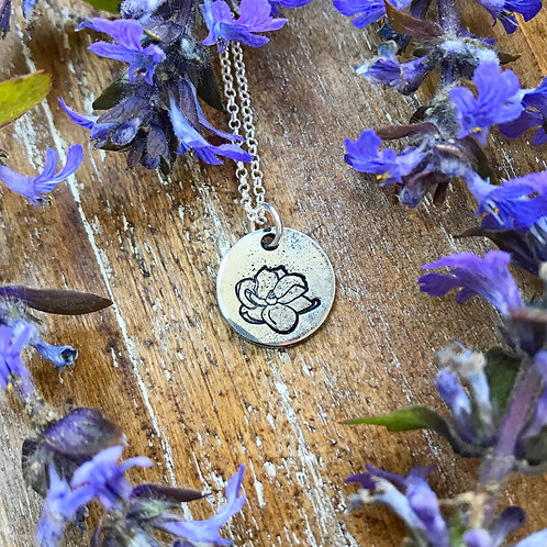 Magnolia Flower Necklace | Hand Stamped Metal Pewter Pendant