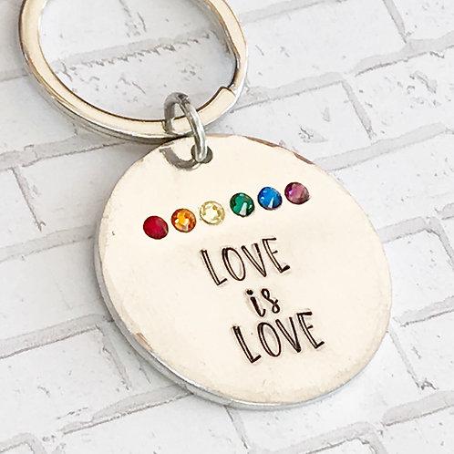 Love is Love Keychain   Pride   Pride Flag   Handstamped Aluminum  