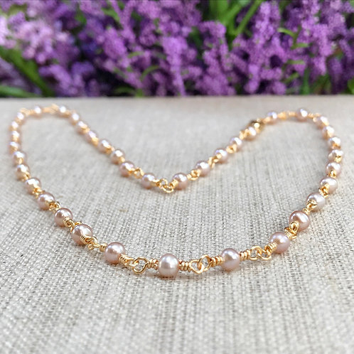 Pink Freshwater Pearl Wire Wrapped Choker Necklace  