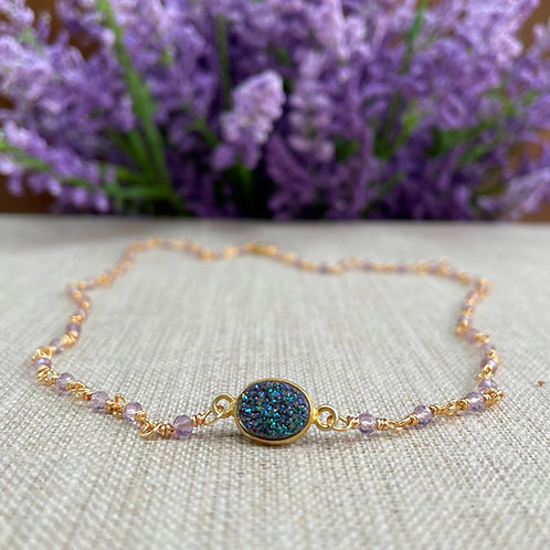 Light Amethyst Wire Wrapped Choker Necklace with Mermaid Druzy Pendant