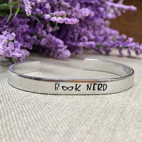 """""""Book Nerd"""" Hand Stamped Aluminum Cuff Bracelet"""