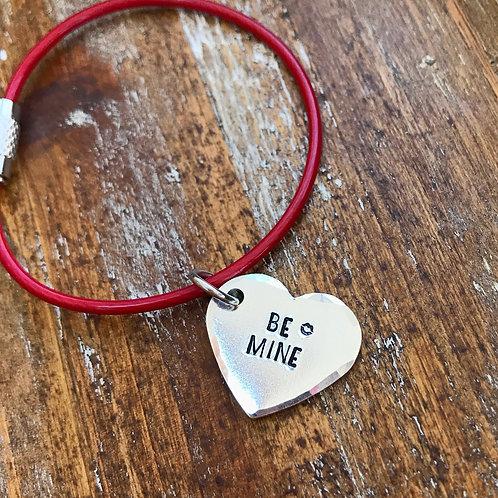 Mini BE MINE Heart Keychain   Handstamped Aluminum Keychain