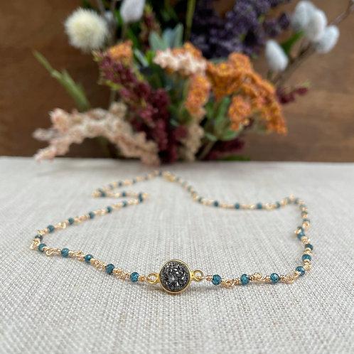 Blue Quartz Wire Wrapped Choker Necklace with Brown Druzy Pendant  