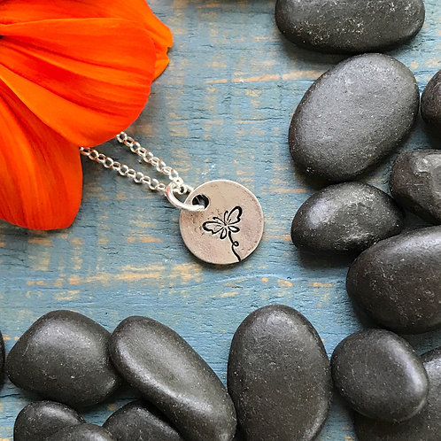 Butterfly Necklace   Hand Stamped Metal Pewter Pendant
