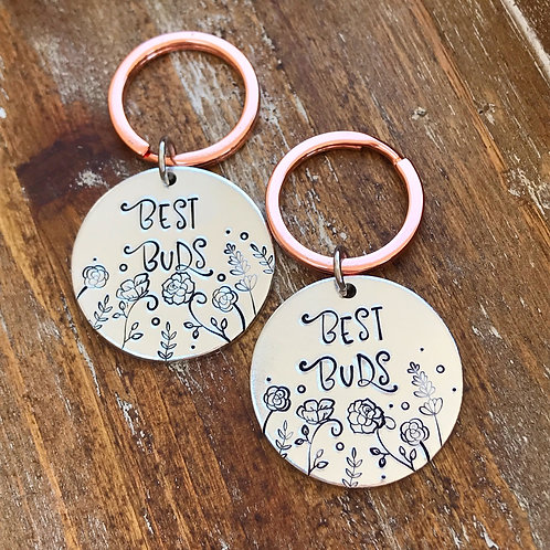 TWO Best Buds Hand Stamped Keychains | Best Friends Gift