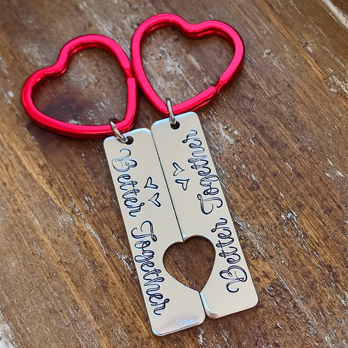 TWO Better Together Heart Cutout Keychains   Handstamped Aluminum Keychain