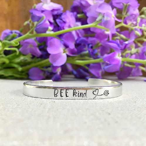 Bee Kind Aluminum Cuff Bracelet | Hand Stamped Metal
