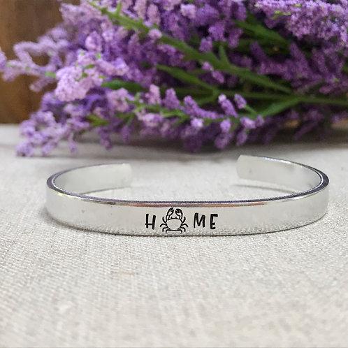 Crab Home Aluminum Cuff Bracelet   Hand Stamped Metal