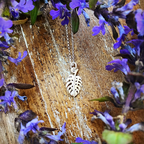 Monstera Leaf Necklace | Dainty Sterling Silver Pendant | Nature Earth