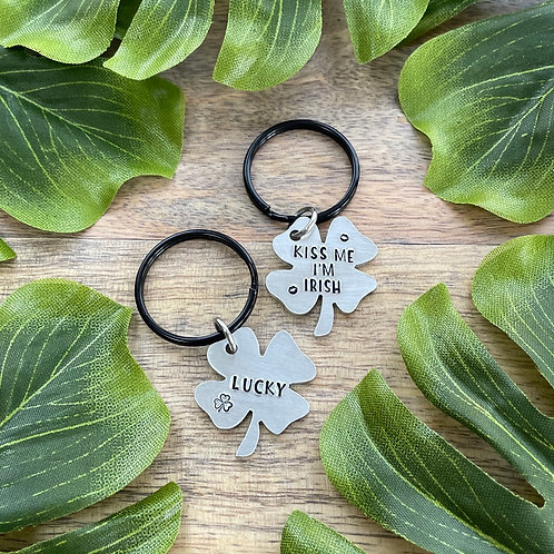 Mini Keychains | Four Leaf Clover | Hand Stamped | Lucky | Kiss Me I'm Irish