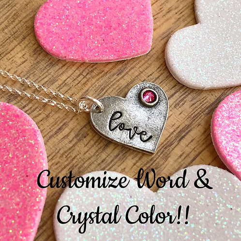 Pewter Heart with Crystal Pendant   Valentine's Day    Handstamped Necklace