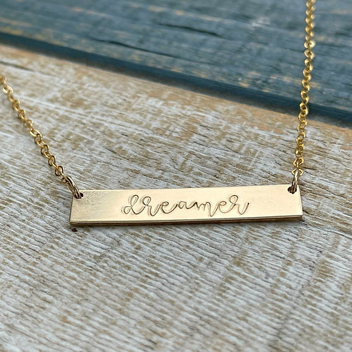 Customized Gold Filled Bar Pendant Necklace | Hand Stamped Metal | Metal Stamped