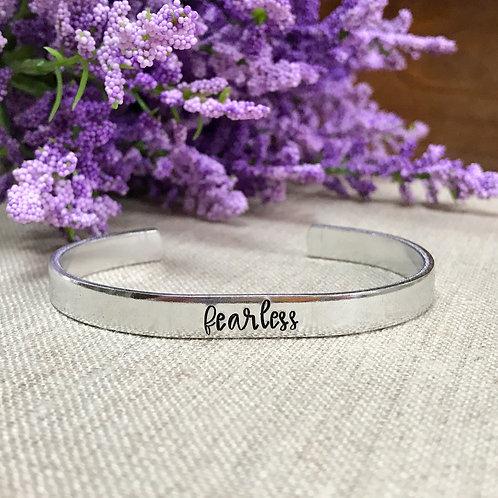 """Fearless"" Hand Stamped Aluminum Cuff Bracelet"