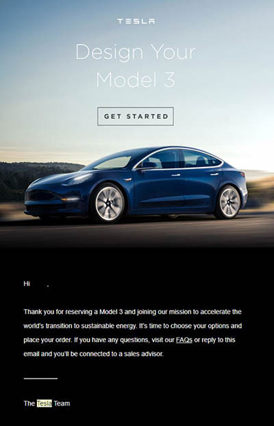 網上流出由 Tesla 向準車主發出的 Model 3 配置邀請。