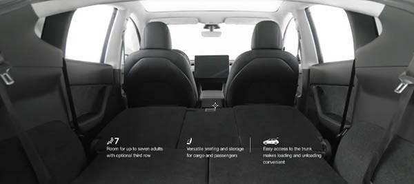 Model Y 最多可設 3 排座位,可坐 7 人。