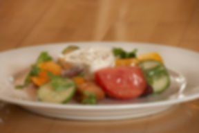 tomato and cucumber salad with fresh cheese