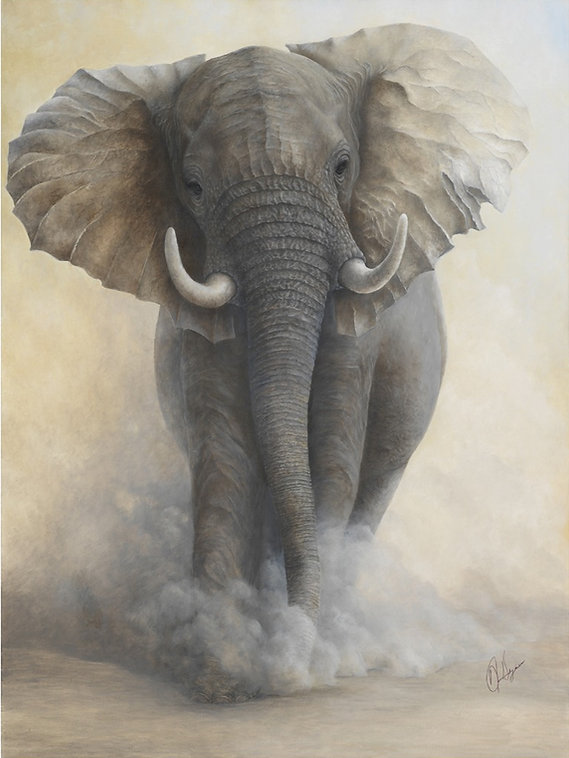 Endangered elephant oil painting