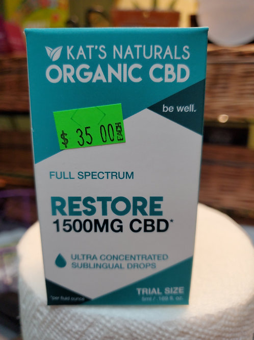 Kat's Naturals Restore 1500mg 5ml Full Spectrum CBD Oil