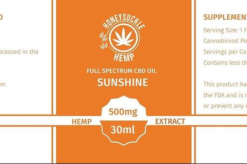 "Honeysuckle Hemp Full Spectrum 500mg CBD Oil ""Sunshine"" Orange flavor"