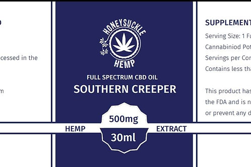 "Honeysuckle Hemp Full Spectrum CBD Oil ""Southern Creeper"" No Flavoring 500mg"