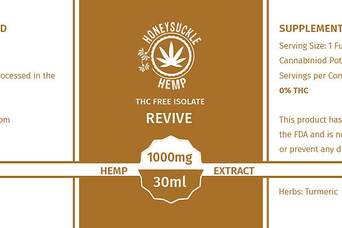 "Honeysuckle Hemp ""Revive"" 1000mg Isolate CBD Oil Non-THC"