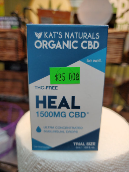 Kat's Naturals Heal 1500mg 5ml No THC CBD Oil
