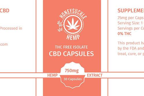 Honeysuckle Hemp 750mg Isolate CBD Capsule  No THC