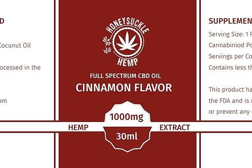 Honeysuckle Hemp Full Spectrum CBD Oil Cinnamon 1000mg 30ml