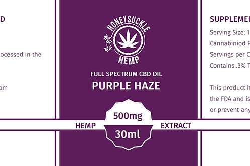 Honeysuckle Hemp Full Spectrum CBD Oil 500mg Purple Haze (Peppermint)