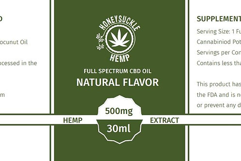 Honeysuckle Hemp Full Spectrum CBD Oil Natural Flavor 500mg